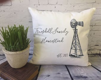 windmill  throw pillow cover,  farmhouse pillow, family homestead, personalized pillow, housewarming pillow, farm