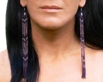 Very Long Earrings. Beaded Fringe Extra Long Earrings. Shoulder Dusters. Long Purple Earrings. Beadwork