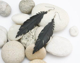 Vegan Earrings - Faux Black Feather Earrings - Handcrafted from Bicycle Inner Tube with surgical steel hooks