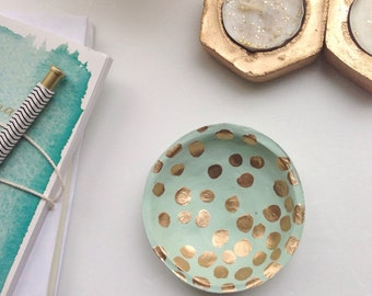 Mint and Gold Jewelry Dish/Gold Polka Dot Jewelry Dish/Mint and Polka Dots/Mini Jewelry Dish