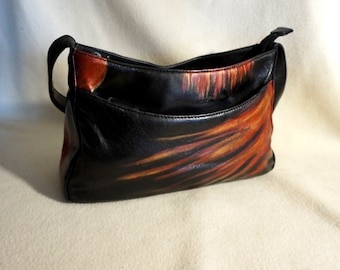 """Marlo Black Leather  Handbag, """" Bringing the Heat """", Hand Painted, One of a Kind"""