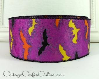 "Halloween Wired Ribbon 2 1/2"", Bats on Glittered Purple Satin - TWENTY FIVE YARD Roll -  ""Bats Ville"", Wire Edge Ribbon"