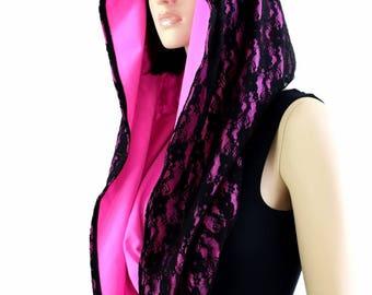 HUGE Extra Long Black Lace & Neon Hot Pink Holographic Cowl Hoodie Festival Rave Clubwear Hood Reversible Hood - 154446