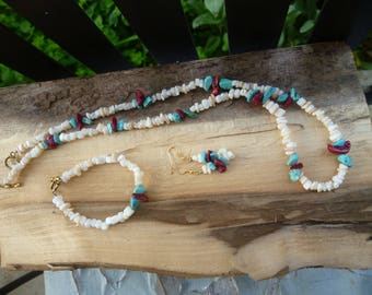 mother of pearl, magnesite, red sponge coral set