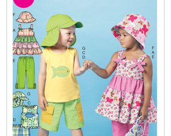 Sew & Make McCall's M6495 SEWING PATTERN - Childrens Shorts Pants Tops Hats sz 4-6