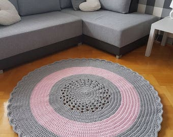 Crochet carpet, round carpet, cotton cord carpet, handmade carpet, lace carpet, frill carpet 150cm