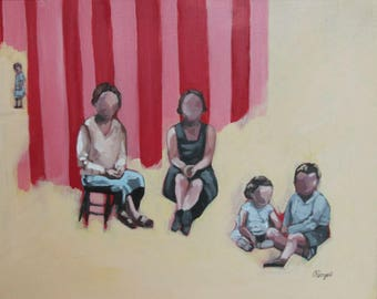 Original painting / acrylic on canvas / figurative painting / stage of life / moms and children retro