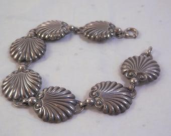 "Sterling Silver Danecraft Shell Link Bracelet 7.5"""