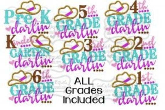 Cowgirl Hat Grade Embroidered Girls Shirt -Back to School Shirt -First Day of School Shirt-Kindergarten 1st Grade 2nd Grade-Graduation Shirt