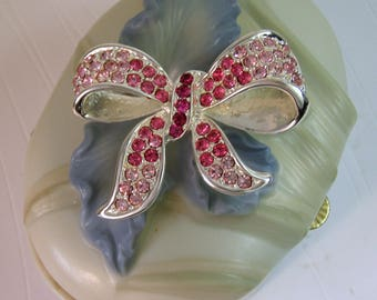 1990's Pink RHINESTONE BOW Pin Brooch-Signed PD-Premier Designs