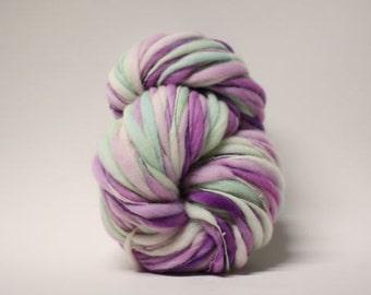 Handspun Thick and Thin Merino Yarn Slub tts(tm) Hand dyed Self Striping xxLR 1513c