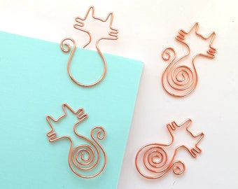 Set of 2 shiny rose gold cat paperclips   planner clips   cats
