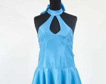 Dress, cocktail dress, wedding dress, turquoise taffeta gown, dress, evening dress, bridesmaid dress, prom dress