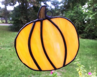 Stained Glass Pumpkin Suncatcher Pumpkin Sun Catcher Pumpkin  Yellow Pumpkin Window Decor Home Decor