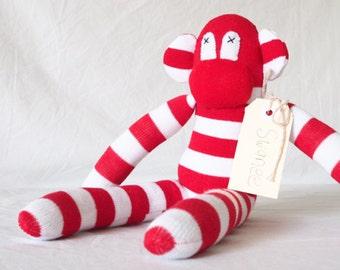 Sock monkey Sock animal Soft plush toy monkey Nursery decor New baby gift Monkey softie Red white sock monkey Baby shower gift Soft toy