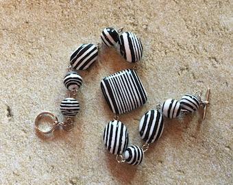 Black and White Glass Lampwork Bracelet, Bracelet, Beaded Bracelet, Beadwork Bracelet, Gift For Her