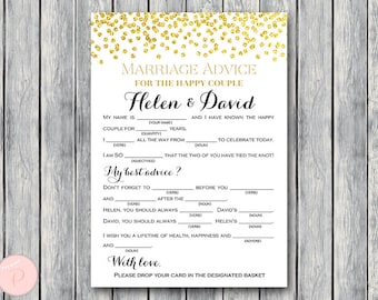 Gold Marriage advice cards, Wedding Mad Libs, Bridal Shower Mad Libs, Bridal Mad Libs, Mad lib advice cards TH22