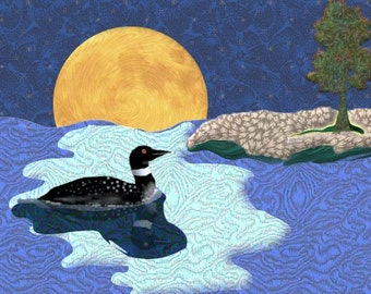 Painting ACEO Loon in Moonlight, Original Graphic Design Art Card