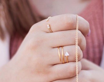 Baguette zircon ring, Baguette ring, zc ring, Silver ring, Minimalist ring, Dainty jewelry, Midi ring, Tiny ring, Silver jewelry, women ring