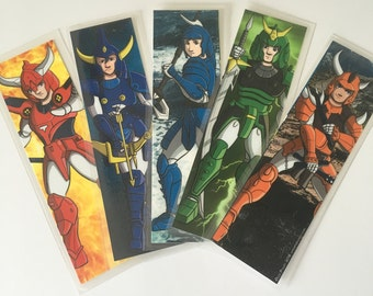 All Five Samurai Troopers Mini Prints- Ronin Warriors- Laminated Set- Bookmark Size- SAVE 5 DOLLARS