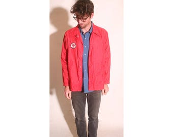Vintage 1990s Life Saving Senior Red Lifeguard Mens Windbreaker Snap Button Jacket size XL