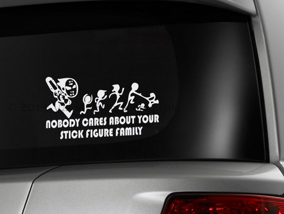 Chainsaw Maniac Chasing Stick Figure Family Car Decal Graphic - Family decal stickers for carscar truck van vehicle window family figures vinyl decal sticker