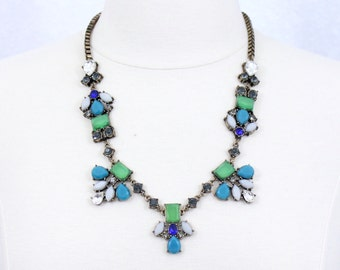 Green Blue Floral Statement Necklace Rhinestone Bee Necklace