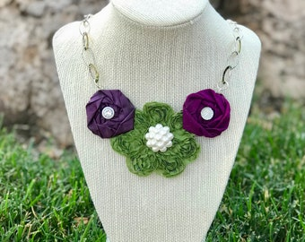 Purple and Green Fabric Flower Statement Necklace, Rolled Rosette Statement Necklace, Fashion Necklace, Bridesmaid Gift, Bridal Party