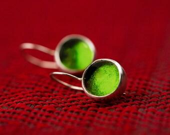 Peridot Green Earrings, Olive Green Earrings, August Birthstone Earrings, cabochon earring, glass earring, silver earrings, lime green