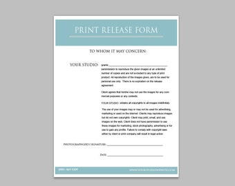 Photographers Print Release Form - Digital Download for Photographers - Photography Business