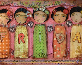 Frida Fiesta - Day of the Dead  Print from  Painting by FLOR LARIOS (6 x 8 INCHES)