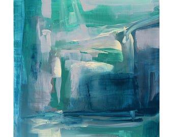 Giclee print original abstract painting 'Aqua Edge II' by Victoria Kloch, aqua, deep turquoise, cream and grays, wall art