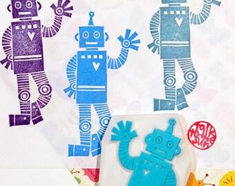 tin robot rubber stamp | wizard of oz stamp | boy's birthday diy craft gift | hand carved stamp | handmade by talktothesun