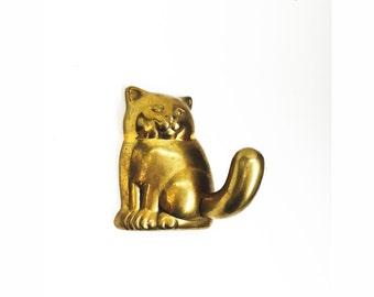 Vintage Brass Cat Wall Hook