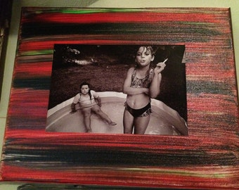 One of a kind 8x10 painted canvas with 4x6  Bruce davidson photography .