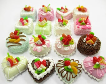 Dollhouse Miniatures Food Cakes 16 Assorted Color Fruit Cake 1.5 cm Supply Charms 14224