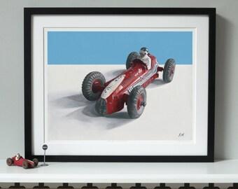 Dinky Maserati Print, Classic car print, Racing car print, Car art, Car print, Dinky toys, Toy car, Limited edition print–DINKY RACING CARS