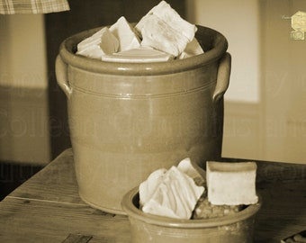 Handmade Lye Soap in Antique Crock in sepia Photograph Laundry Room Photography by Colleen Cornelius Bring the Outdoors In Zen Home Decor