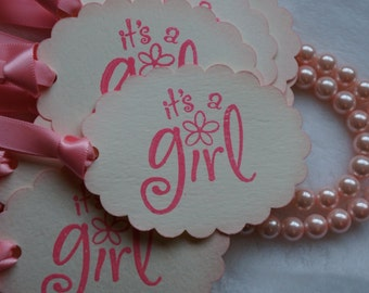 Its a Girl tags, Baby Shower tags. wish tree tags, Set of 20