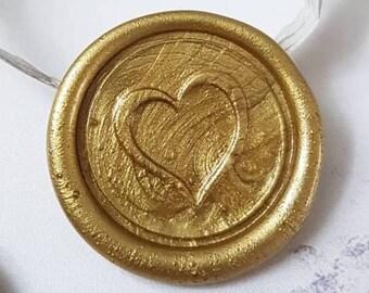 Gold wax seal, gold heart wax seal,self adheadsive wax seal, gold self adheasive wax seal, peel and stick wax seal,wax seals,heart wax seal