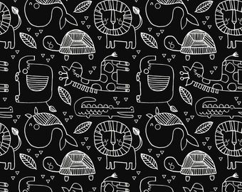 In the Wild on Black from Blend Fabric's Funanimals Collection
