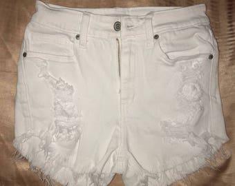 FASHION NOVA White Denim Ripped Highwaist Shorts