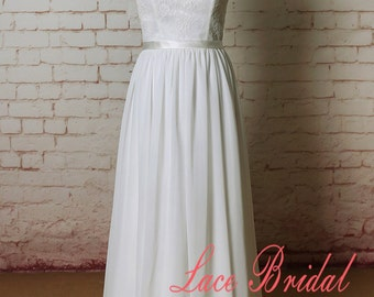 Ivory Lace Chiffon Wedding Dress with Cap Sleeves Sheer Back Wedding Gown with Ribbon