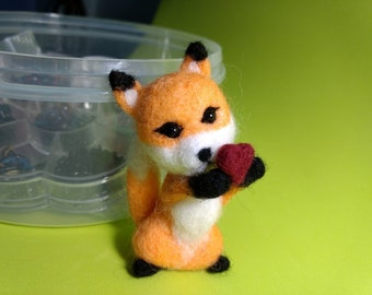 3 Inches Tall Little Ms Foxy mini needle felting fox