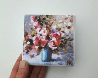 Small flower print, print on canvas, tiny painting, small canvas, print acrylic, floral painting, flower print, gift for her, glicee canvas