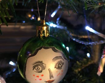 Large green hand painted bauble