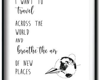 I want to travel - type adventure - digital download