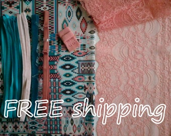 LINGERIE Kit Geometric Turquois & Peach for 1 BRA + Panty FREE Shipping by Merckwaerdigh