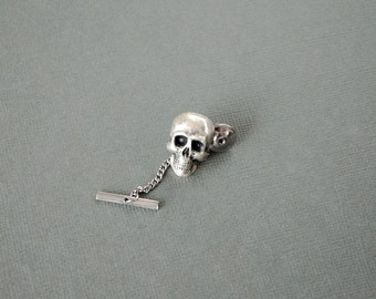 Skull Tie Tack  Pirate Crossbones Lapel Pin Skull Lapel Pin Steampunk Antique Brass Men's Gifts Men's Accessories
