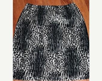 Moving Sale SALE- Fuzzy Leopard Print Pencil Skirt-Size 4